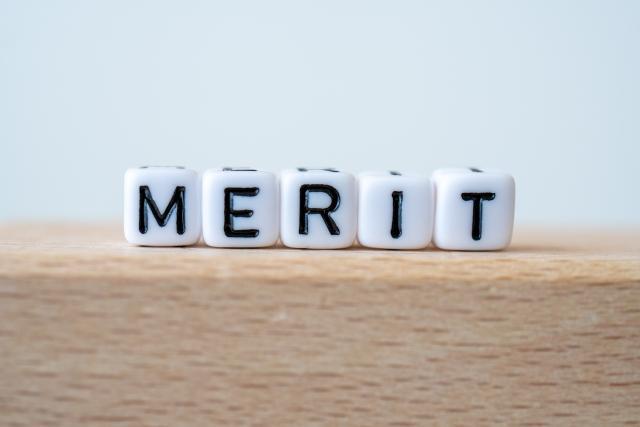 MERITと並べられたテキストパーツ